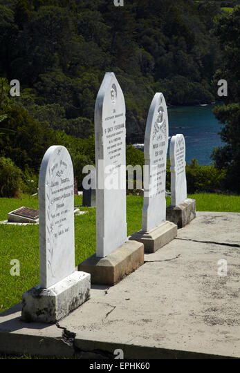 Historic cemetery, Leigh, North Auckland, North Island, New Zealand - Stock Image