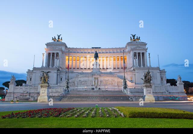 Rome - Vittorio Emanuele Landmark at dusk - Stock Image