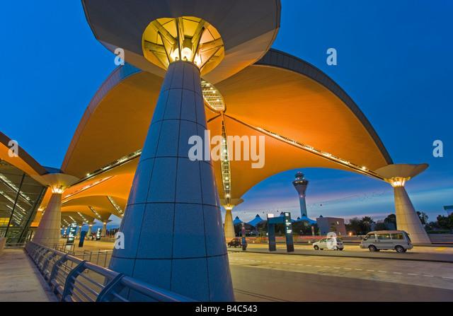 Asia, Malaysia, Kuala Lumpur, Kuala Lumpur International Airport, KLIA, modern exterior architecture - Stock Image
