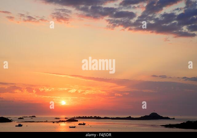 Sunset at Cobo Bay, Guernsey, Channel Islands, United Kingdom, Europe - Stock Image