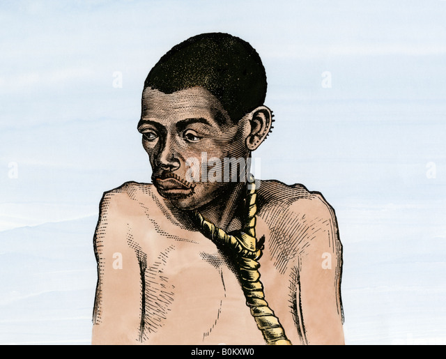 African native offered in the slave market Congo basin - Stock-Bilder