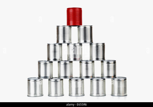 Success concept - Red tin can on top of a pyramid - difference / success / leadership concept - Stock Image