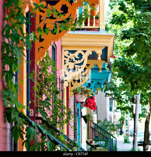 Montreal balconies design - Stock Image