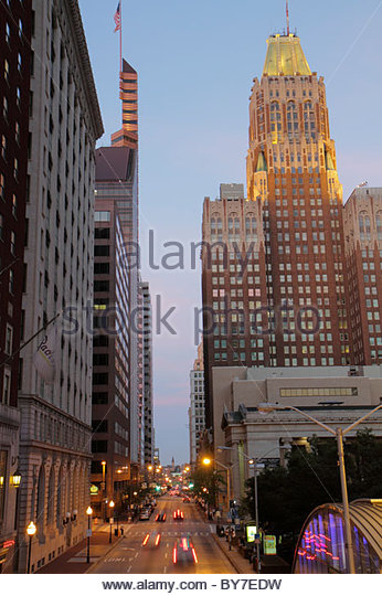Baltimore Maryland Baltimore Street Bank of America William Donald Schaefer Tower 1924 skyscraper commercial real - Stock Image
