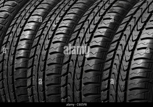 close view of car tires - Stock Image