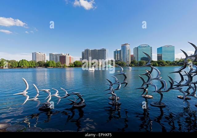 Eola Lake in Downtown Orlando, Florida. - Stock Image