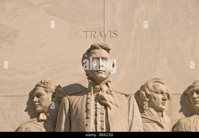 Wiliiam B Travis sculpture alamo commander Spirit of sacrifice Alamo Heroes Monument The Alamo Cenotaph Alamo Plaza - Stock Image