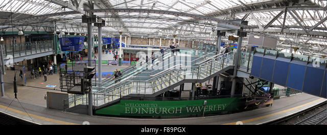 Waverley Railway Station Panorama, Edinburgh, Scotland with passengers - Stock Image