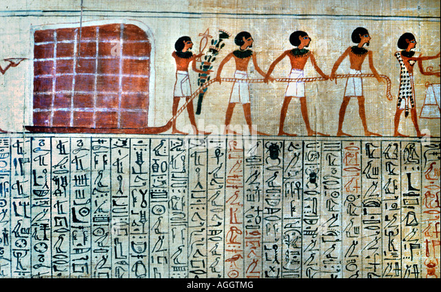 Workers dragging blocks 1000 BC Egyptian papyrus - Stock-Bilder