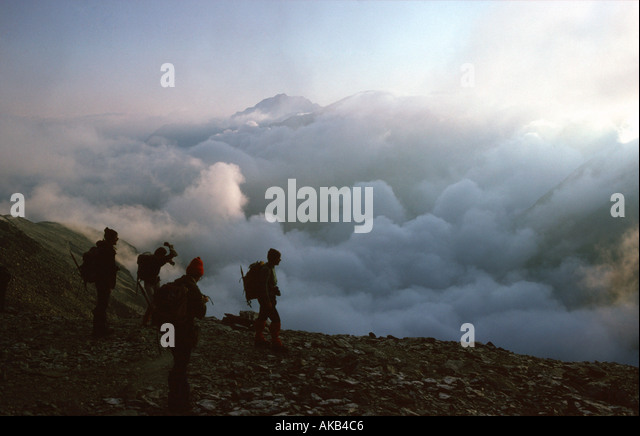 Dawn mist on Marzellkam, Ötztal Alps, Austria - Stock Image