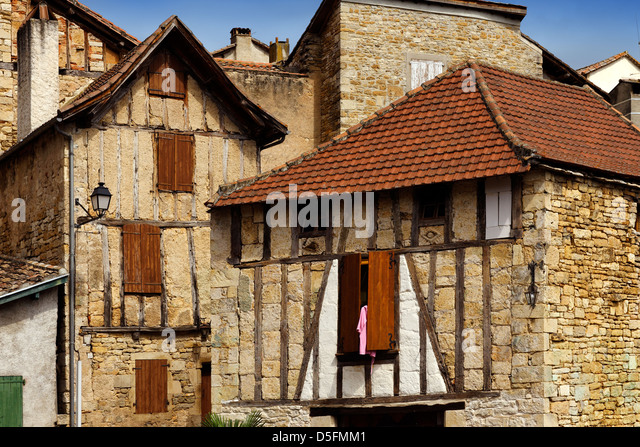 Old houses in St Antonin Noble Val, Tarn et Garonne, France - Stock Image