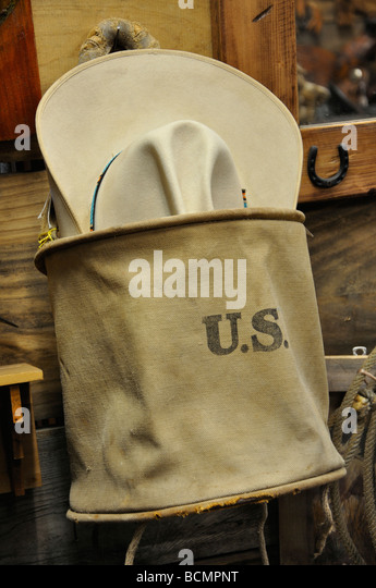 Old U.S. mailbag in antiques store in  Texas - Stock Image