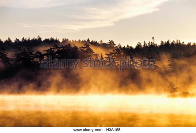 sunset light on misty lake - Stock Image