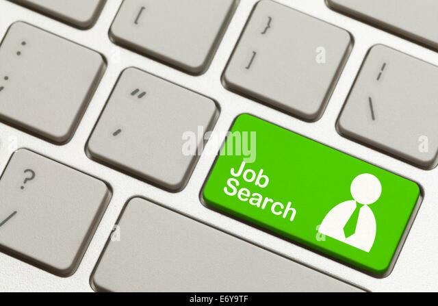 Close Up of Green Job Search Key Button on Keyboard. - Stock Image