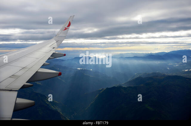 Flight over Andes, Bogota, Colombia - Stock Image