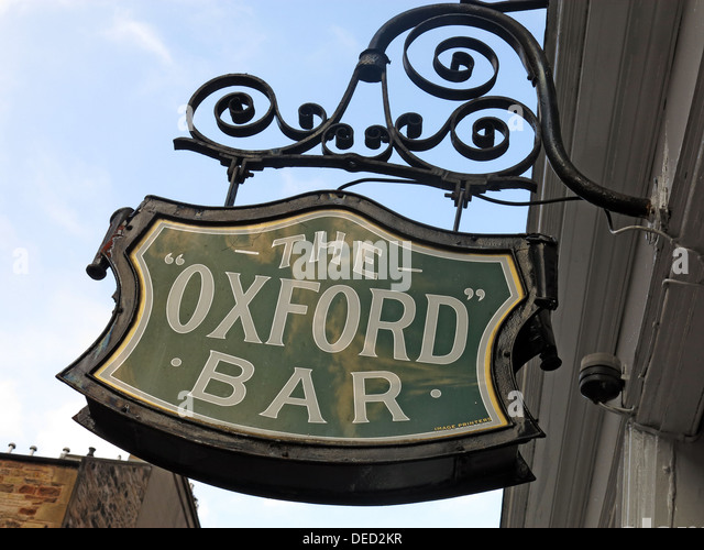 Sign at the Oxford Bar. A public house situated on Young Street, in the New Town of Edinburgh, Scotland. Insp' - Stock Image