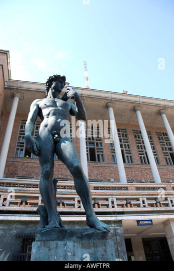 One f the three Michelangelo's David replicas is in  Montevideo, Capital of Uruguay, in front of the Palacio - Stock Image