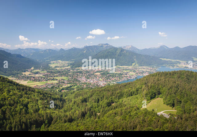 View to the Tegernsee, the village Rottach Egern and the Weissach valley, Bavaria, Germany - Stock-Bilder