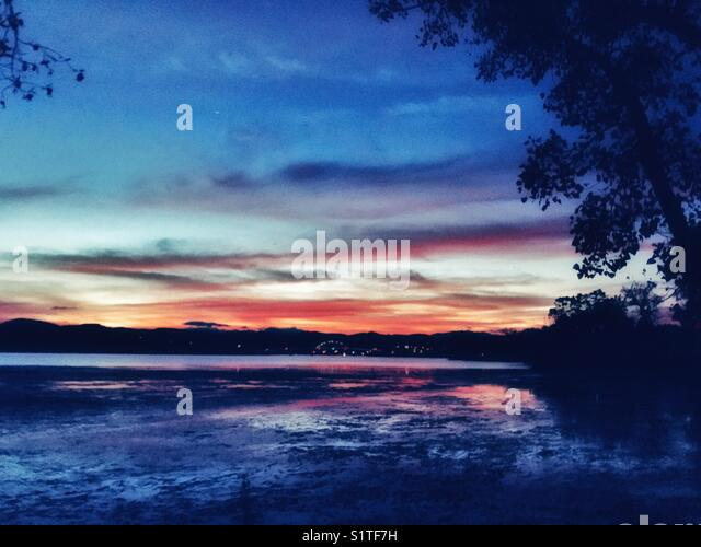 Sunset with trees - Stock Image