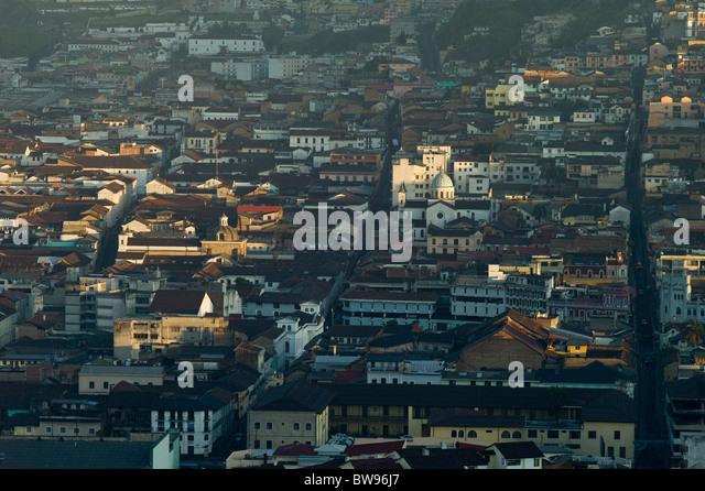 View of the Centro Historico at sunrise, Quito, Ecuador - Stock Image