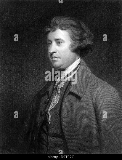 Edmund Burke Anglo-Irish orator, political philosopher and writer Engraving after the portrait by Joshua Reynolds - Stock Image