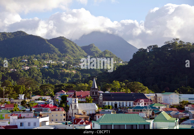 Roseau Dominica above city overview architecture and mountains Eastern Caribbean - Stock Image
