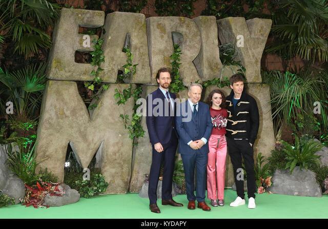 London, UK. 14th January, 2018. Cast, Tom Hiddleston, Nick Park, Maisie Williams, Eddie Redmayne, Early Man - World - Stock Image
