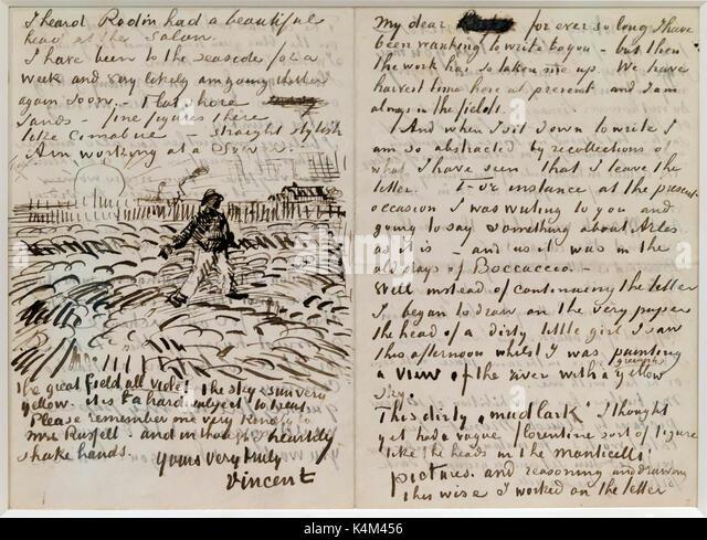 Letter to John Peter Russell, by Vincent van Gogh, 1888, Solomon R. Guggenheim Museum, Manhattan, New York City, - Stock Image
