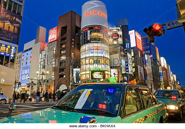 Ginza Crossing at Dusk in Tokyo, Japan. - Stock Image