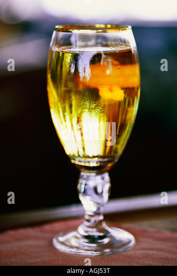 Close-up of a glass of white wine - Stock Image