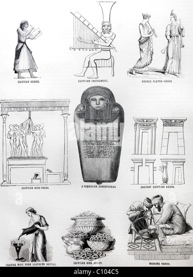 Bible Illustrations Of Egyptians Tombs And Pheonician Sarcophagus - Stock Image
