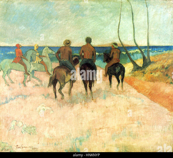 Riders on the Beach, by Paul Gauguin, 1902 - Stock Image