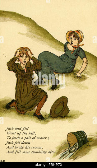 Jack and Jill illustrated by Kate Greenaway. English children 's book illustrator and authoress 17 March 1846 - Stock Image