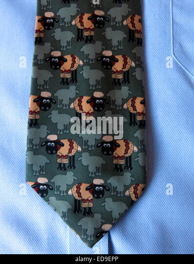 Interesting comedy shaun the sheep tie, male neckware in silk - Stock Image