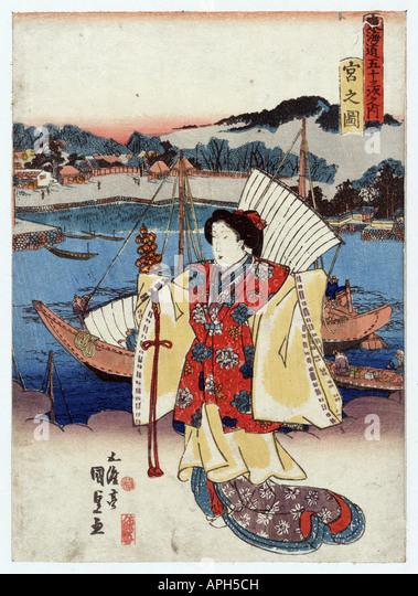 Miya no zu, Japan between 1835 and 1838 - Stock Image