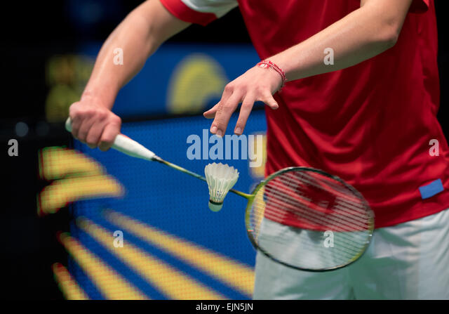 Lubin, Poland. 29th Mar, 2015. Semi-final of team tournament in  badminton during European Junior Championships - Stock Image