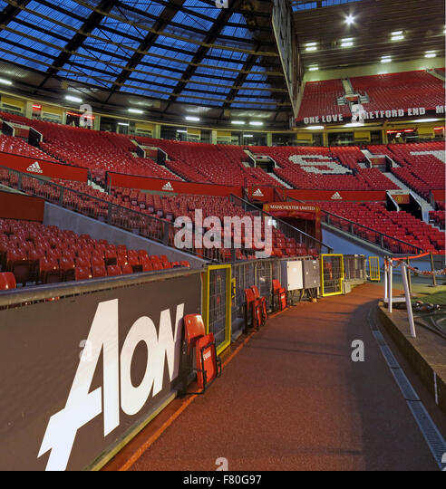 Old Trafford,sponsor AON and Stretford End,Man Utd,Manchester,England,UK - Stock Image