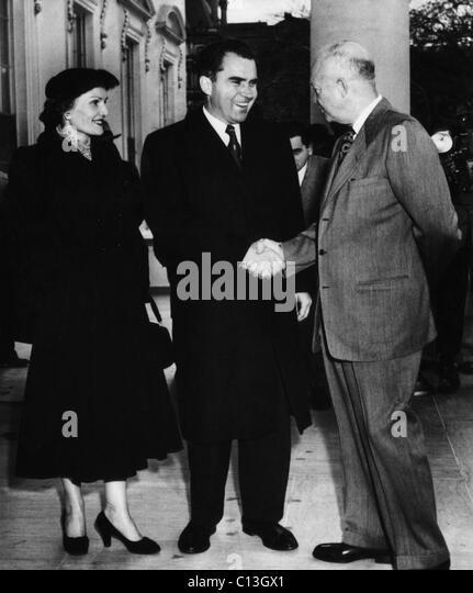 1954 US Presidency. US President Dwight Eisenhower greets Vice President (and future US President) Richard Nixon - Stock Image