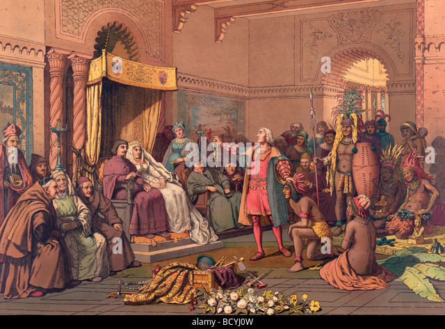Christopher Columbus in the Barcelona court of Ferdinand and Isabella  in 1493 after returning from first voyage - Stock Image