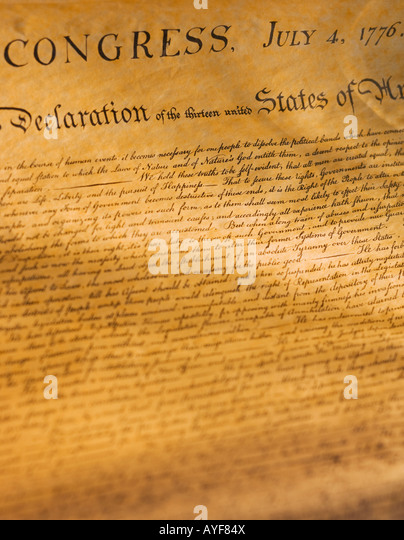 Close up of the Declaration of Independence - Stock Image