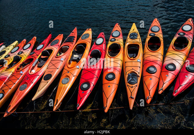 A colorful row of Kayaks docked in Massachusetts, USA - Stock Image