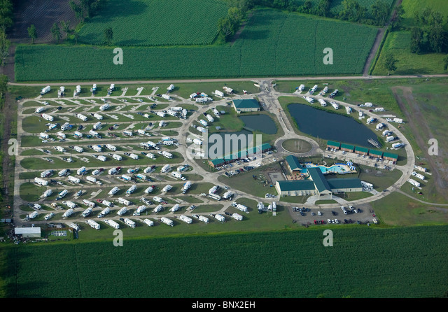 aerial view above mobile home park Louisiana - Stock Image