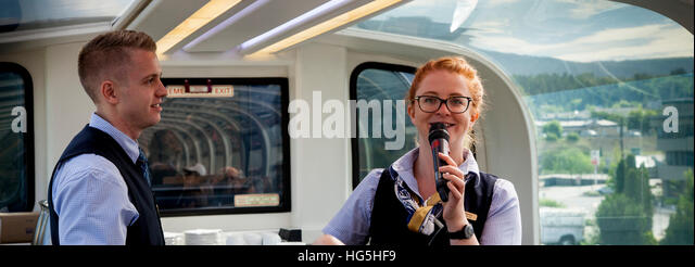 host service on board the Rocky Mountaineer train - Stock Image
