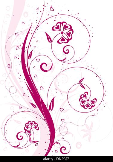 Valentines background with heart shaped flowers - Stock-Bilder