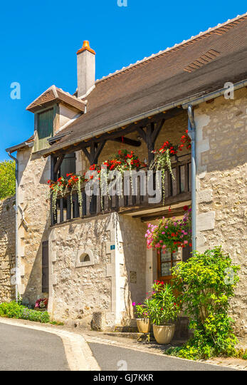 Old town house with balcony, Preuilly-sur-Claise - France. - Stock Image