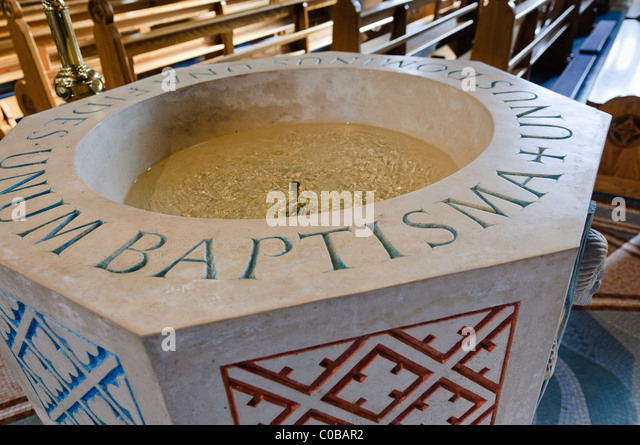 Baptismal font in a church - Stock-Bilder