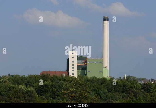 Waste incineration plant of the mbH Wuppertal waste management company, North Rhine-Westphalia, Germany, Europe - Stock Image