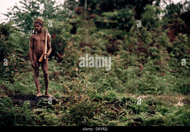 Indigenous man standing in the forest of Irian Jaya, New Guinea, Indonesia - Stock Image