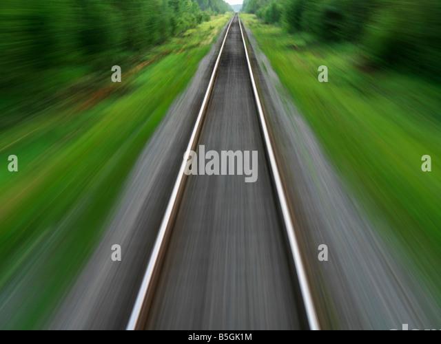 Canada,Manitoba,Churchill,train tracks through Boreal forest of Northern Manitoba - Stock Image
