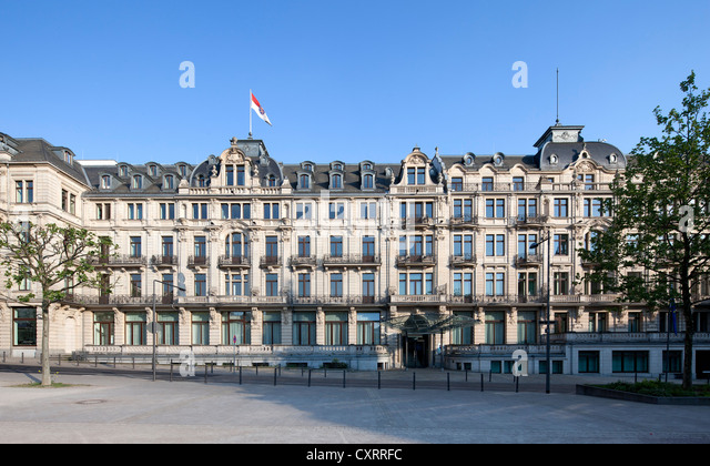 Hessian State Chancellery, seat of the Hessian Prime Minister, formerly Hotel Rose, Wiesbaden, Hesse, PublicGround - Stock Image